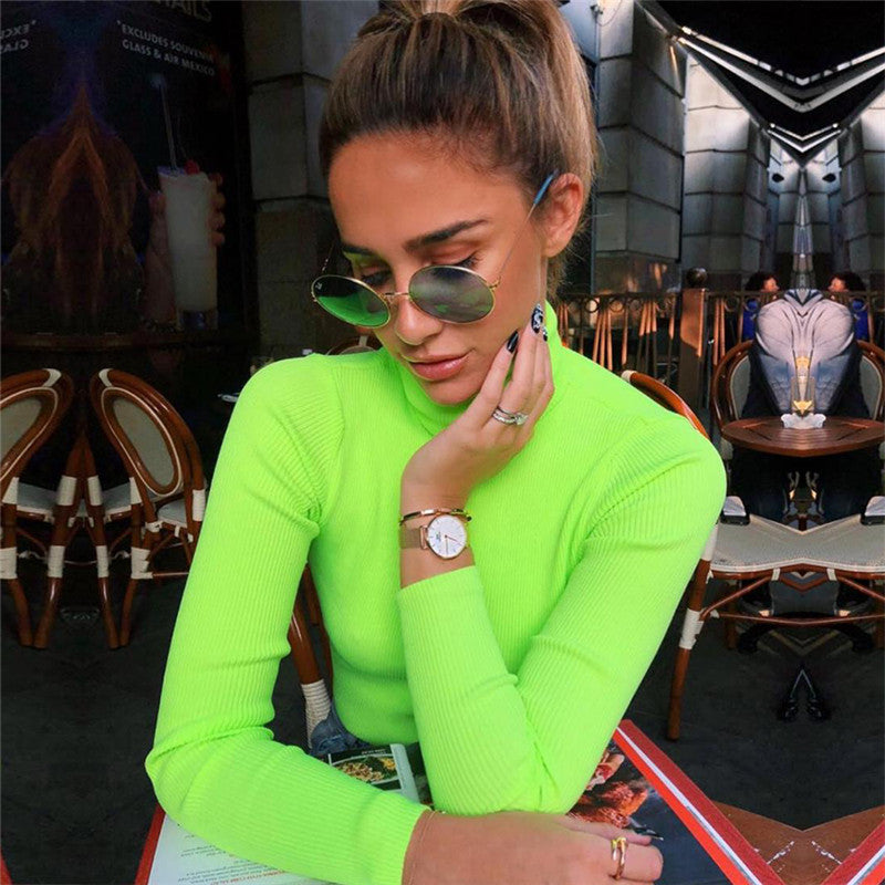 Neon Ribbed Turtleneck Top - Sotra Fashion