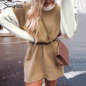 Simplee Turtleneck patchwork sweaters Women lantern sleeve color block pullover khaki pink sweater Autumn winter long sweater - Sotra Fashion