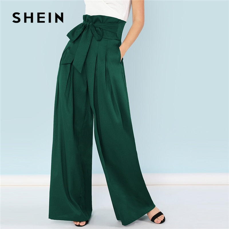 SHEIN Green Elegant Office Lady Self Belted Box Pleated Palazzo High Waist Minimalist Wide Leg Pants 2018 Autumn Casual Trousers - Sotra Fashion