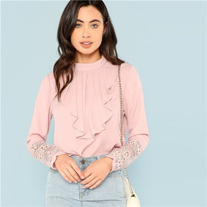 Pink Flounce Neck Lace Cuff Top Elegant Stand Collar Long Sleeve Ruffle Blouse Women Autumn Plain Workwear Shirt Tops - Sotra Fashion