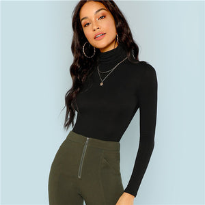SHEIN Black Turtleneck Slim Fit T-shirt Workwear Office Ladies Plain High Neck Long Sleeve Tee Women Autumn Minimalist Tee - Sotra Fashion