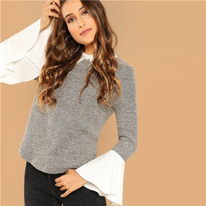 Weekend Casual Multicolor Contrast Collar Flounce Sleeve Top Women Long Sleeve Autumn Elegant Minimalist Blouses - Sotra Fashion