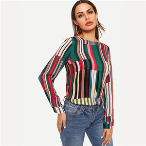 Multicolor Casual Keyhole Back Mixed Striped Round Neck Long Sleeve Blouse Autumn Office Lady Women Tops And Blouses - Sotra Fashion