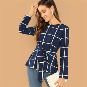 Navy Elegant Self Belted Grid Top Skirt Bottom Plaid Blouse 2018 Autumn Office Ladies Long Sleeve Workwear Blouses