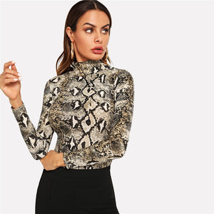 High Neck Snakeskin Print - Sotra Fashion