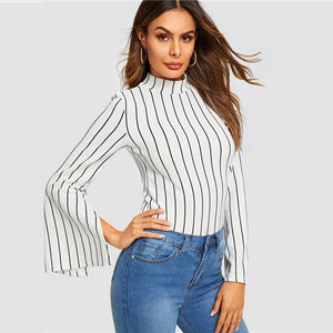 Black and White Striped Long Sleeve Top - Sotra Fashion