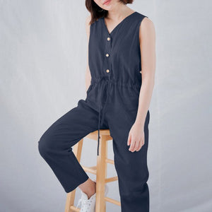 2019 Celmia Vintage Women Cotton Jumpsuit Sexy Sleeveless Harem Pants Summer Romper Buttons Playsuits Casual Plus Size Overalls - Sotra Fashion