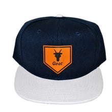Load image into Gallery viewer, Home of the Goat SnapBack (Navy/White)