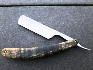 Bell and Hat razor with round nose, 52100 Aldo Bruno steel, sycamore scales, and file worked spine.