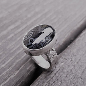 Ely Knives and Silver Gemstone Ring with Blackened Patena Patterned Band, Size 6