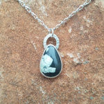 Chinese writing stone teardrop pendant, with 18 inch decorative chain