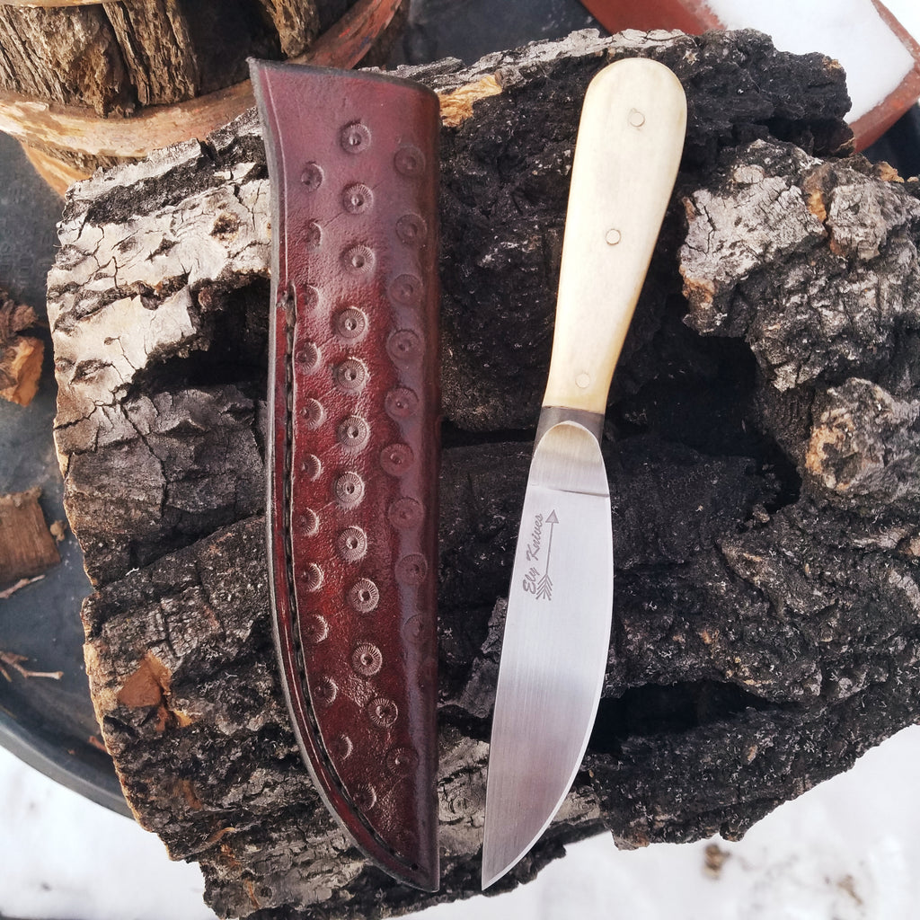 Ely Knives and Silver Hudson Bay Roach Belly Trade Knife Replica