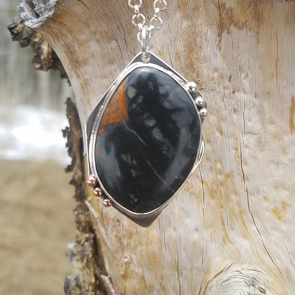 Ely Knives and Silver Gemstone Necklace Accented with Silver and Copper, with an 18-inch chain.
