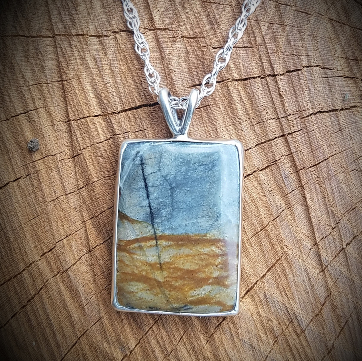 Ely Knives and Silver Landscape Gemstone Necklace; set in sterling silver with an 18-inch box chain.