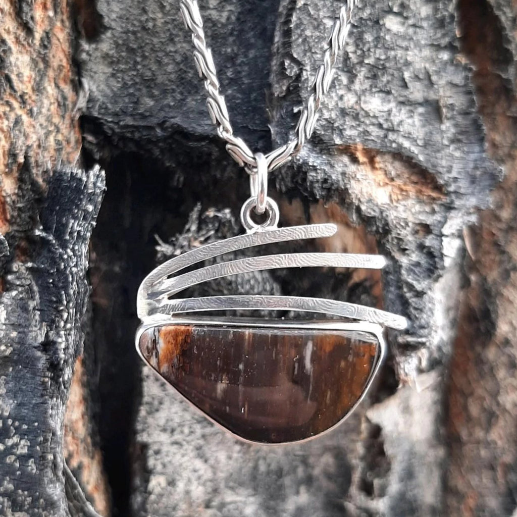 Ely Knives and Silver Petrified Palmwood necklace; set in Sterling Silver, with choice of 16-inch, 18-inch, or 20-inch snake chain.