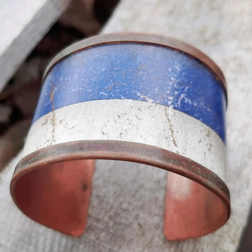 Ely Knives and Silver Blue Copper Bracelet, wrapped with adjustable cuff