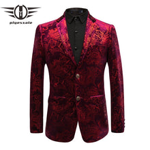 Plyesxale 2018 New Arrival Velvet Burgundy Blazer Men Casual Male Suit Blazer Jacket Slim Fit Wedding Prom Stage Blazers Q449