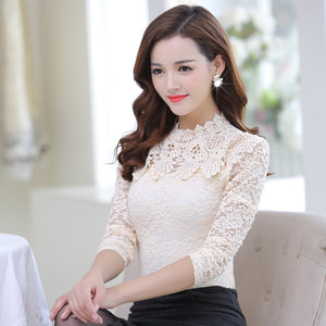 2017 Spring Autumn Women Tops Fashion Lace Blouse Long Sleeve Slim Body Floral Shirt Elegant Plus Size Lace Top blusas femininas