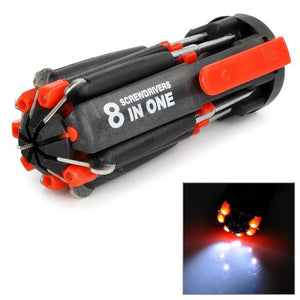 8-In-1 Multi Screwdriver kit with powerful Led Torch
