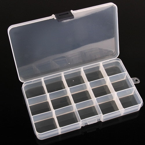 New Adjustable 1 PC 15 Cells Compartment Plastic Storage Box Case Jewelry Bead Tiny Stuff Container