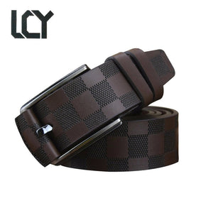 [LCY]Men Luxury Plaid 100% High Quality Leather Belt for Men Jean Casual Fashion Pure Leather Belt Pin Buckle Black Strap 400334