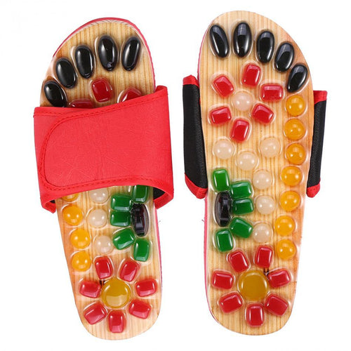 Natural Pebble Stone Foot Massager Slippers Reflexology Care Blood Activating Foot Acupuncture Point Massage Shoes For Men Women