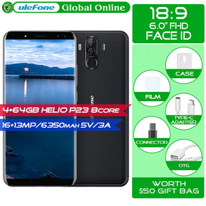 "Ulefone Power 3 S 6.0""18:9 FHD+ Smartphone 6350mAh 5V/3A Android 7.1 Helio P23 Octa Core Face ID Four Cam  4GB 64GB Mobilephone"