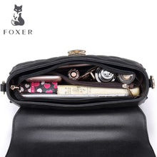 FOXER Brand Women Leather Bag Simple Cowhide Shoulder Bag Small Square Package Lingge Chain Messenger Bag & Crossbody Bags