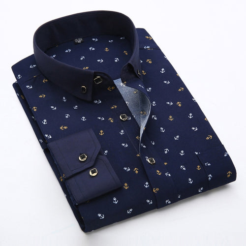 New 2018 Spring Men Casual Shirts Fashion Long Sleeve Brand Printed Button-Up Formal Business Polka Dot Floral Men Dress Shirt
