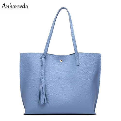 Ankareeda Luxury Brand Women Shoulder Bag Soft Leather TopHandle Bags Ladies Tassel Tote Handbag High Quality Women's Handbags