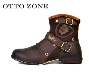Men's Autumn/Winter Martin Boots Genuine Cow Leather High Top Ankle Boots Cotton-Padded Leather Shoes Size EU 38-45 Imported