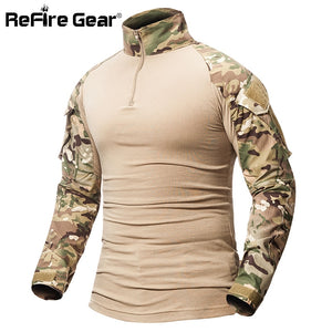 ReFire Gear Camouflage Army T-Shirt Men US RU Soldiers Combat Tactical T Shirt Military Force Multicam Camo Long Sleeve T Shirts