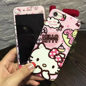 Banjolu New Hello Kitty + Screen Protector Tempered Glass Case for iPhone X 8 7 7Plus Back Cover Case for iPhone 6 6s Plus Case