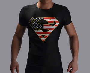 New Arrived Men t shirt Short Sleeve superman/batman quick dry Slim Fit men's Tops, Tees 133 Imported