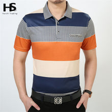 HS Summer Thin T Shirt With Pocket Cotton Striped T-Shirt Short Sleeve Top Men Turn-down Collar Business Casual Dress XXXXL 2228 Imported
