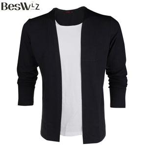 Beswlz Men's Long Sleeve T Shirts False Two Pieces Patchwork Contrast Color Spring Autumn Casual Slim Style Cotton Men Tops Tees