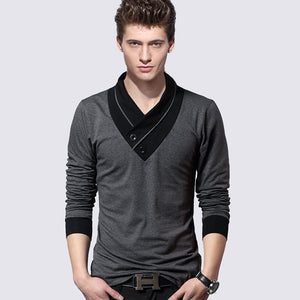 2018 New Plus Size Mens Autumn Casual T-shirt Fashion Slim Long Sleeve V Neck T Shirt Button Decorating Tees / Tops V-neck Imported