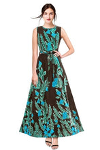 New 2021 Designer Printed Western Maxi Gown-Brown (Size-M)