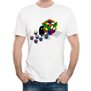 Funny Happy Rubiks Cube T-Shirt Men's Personalized Custom T Shirts Summer Casual Street wear Short Sleeve Tops Tee lc2949