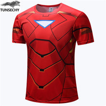 NEW 2018 TUNSECHY Marvel Captain America 2 Super Hero lycra compression tights T shirt Men fitness clothing short sleeves S-4XL