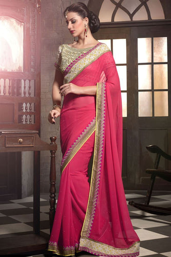 Pink Designer Party Wear Georgette Saree