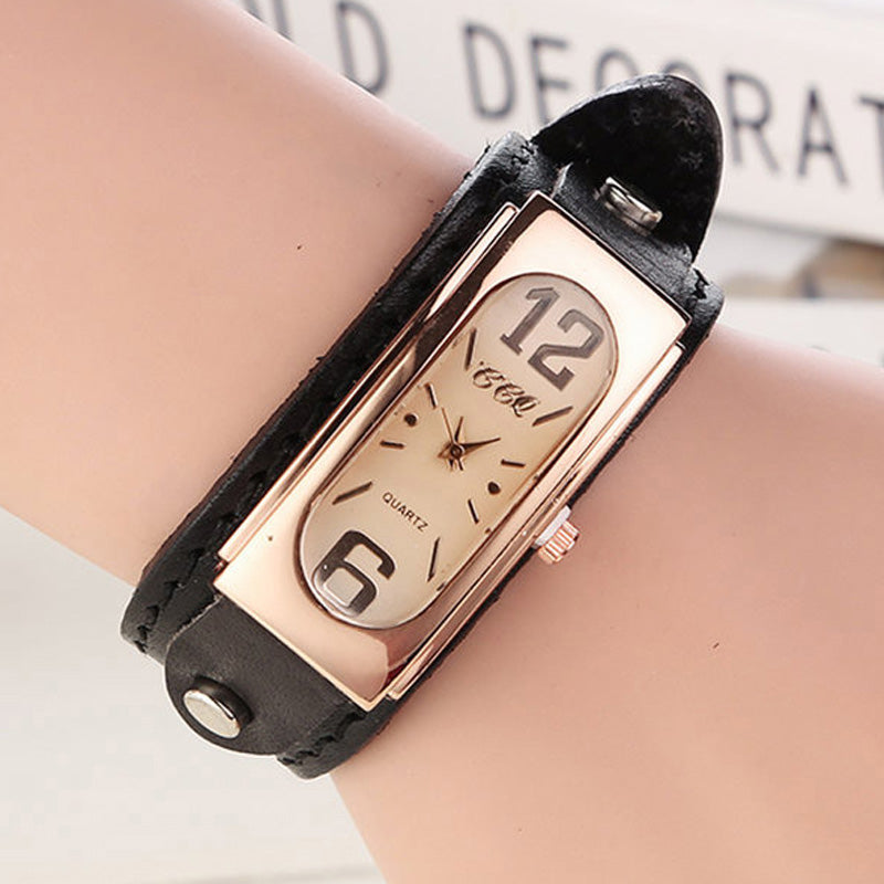 New Fashion Unisex Retro Genuine Leather Dress Watchwrist For Women Ladies Vintage Bracelet Strap Watch Relogio Feminino W2021
