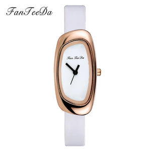 FanTeeDa Brand Leather Quartz Watches Fashion Women Casual Bracelet Wristwatches Rose Gold Simple Dial Sport Watch Clock