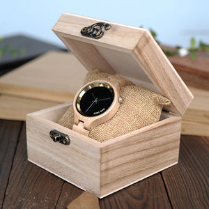 BOBO BIRD WP16 Wood Women Watch at 4 o'clock Slant LOGO Wooden Band Exquisite Quartz Watches ladies Timepieces as Gift