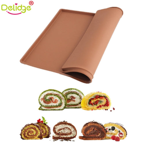 Delidge 1 pc  Cake Roll Mat Silicone Non-Stick Swiss Roll Molds Tray Square Shape Swiss Cake Rolls Pallets Chocolate Molds