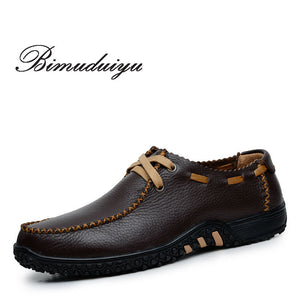 New European American Style Ultra-soft Genuine Leather Male Casual Shoes Flat Soft Men's Large Size Breathable Shoes