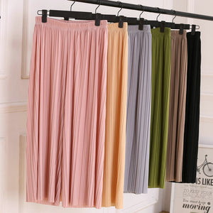 17 Summer Female Wrinkle High Waist Loose Thin Section Wide Range Of Chiffon Legs long Leg Pants Korean Pant Fashion Sexy 8 Co