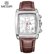 Mens Watches Top Brand Luxury MEGIR Men Military Sport Luminous Wristwatch Chronograph Leather Quartz Watch