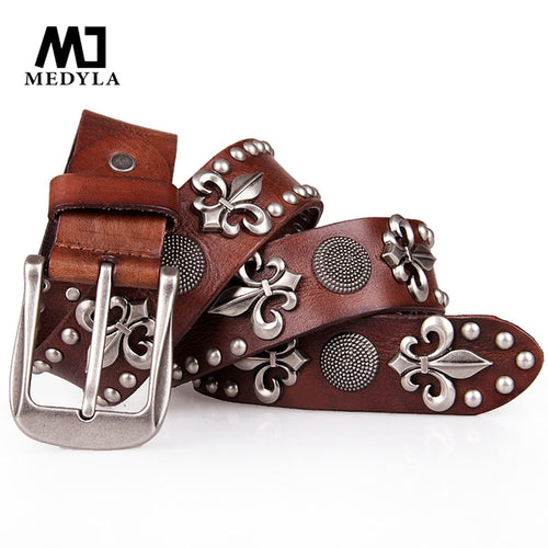 MEDYLA Top Layer Rivet Punk Male Belt Genuine Leather Belts Novelty Designed Personally Gift for Man Skull Decoration for Jeans