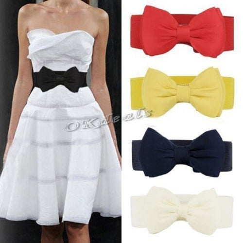 2017 New Arrival Fashion Women Lady Bowknot Stretch Elastic Bow Wide Stretch Buckle Waistband Waist Belt